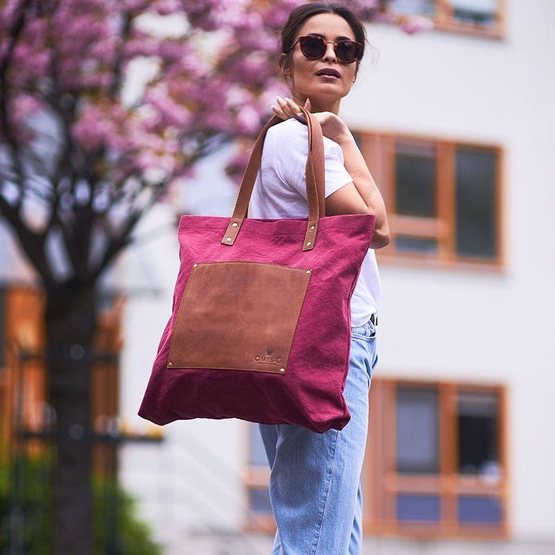 O My Bag Lou's Big Bag Burgundy Canvas-116939