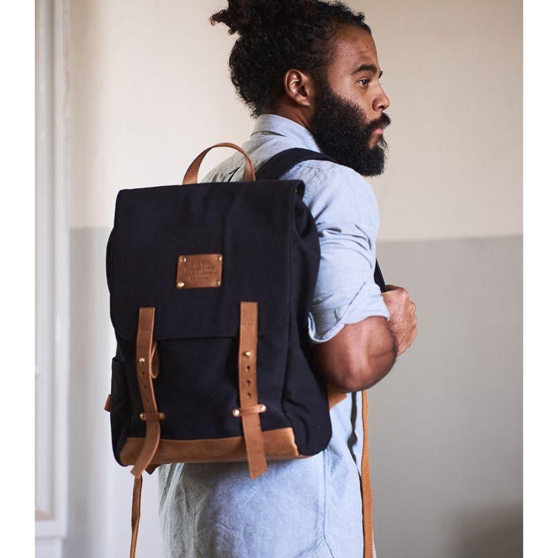 O My Bag Mau's Backpack Black Canvas-120664
