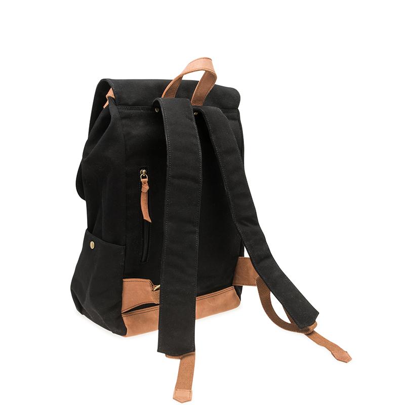 O My Bag Mau's Backpack Black Canvas-65963