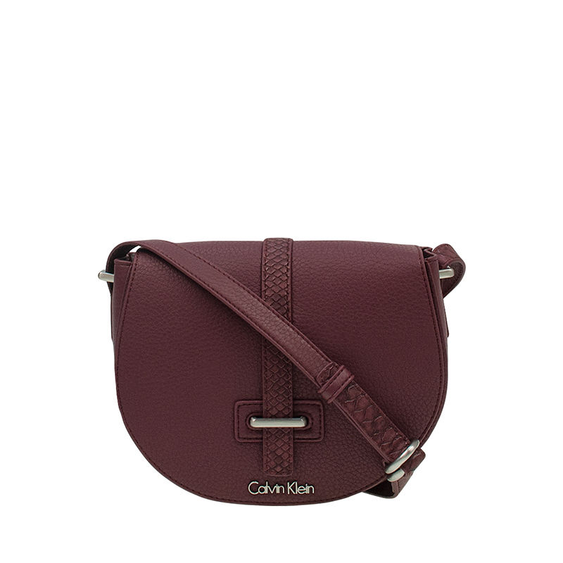 Calvin Klein Poppy Saddle Bag Oxblood-0