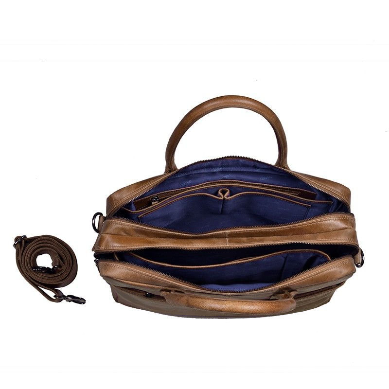 DSTRCT Fletcher Street Double Zipper Laptop Bag Cognac-92023