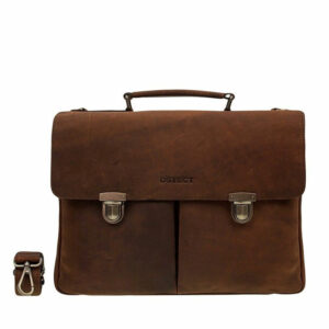 DSTRCT Wall Street Laptop Bag Snap Buckle Brown