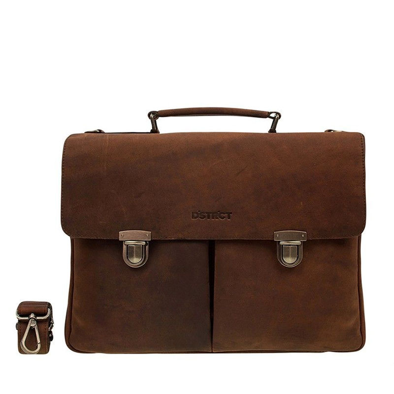 DSTRCT Wall Street Laptop Bag Snap Buckle Brown-0