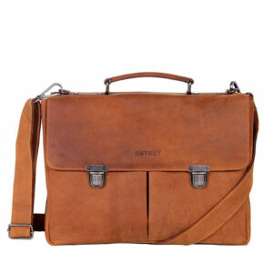 DSTRCT Wall Street Laptop Bag Snap Buckle Cognac