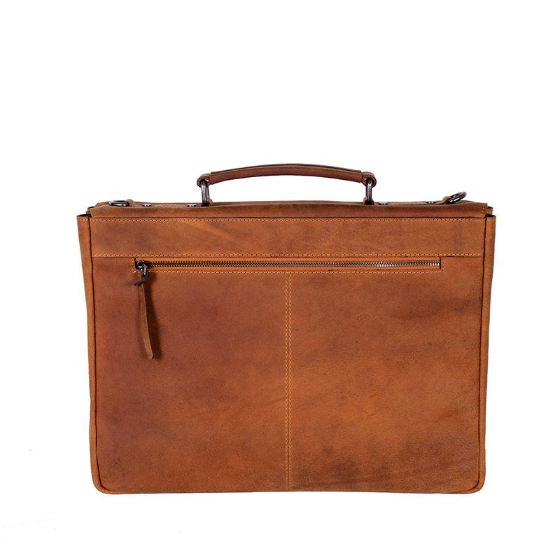 DSTRCT Wall Street Laptop Bag Snap Buckle Cognac-85354