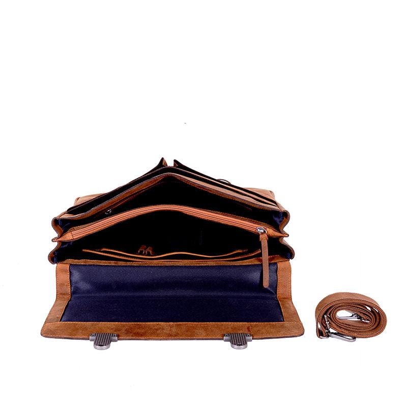 DSTRCT Wall Street Laptop Bag Snap Buckle Cognac-85357