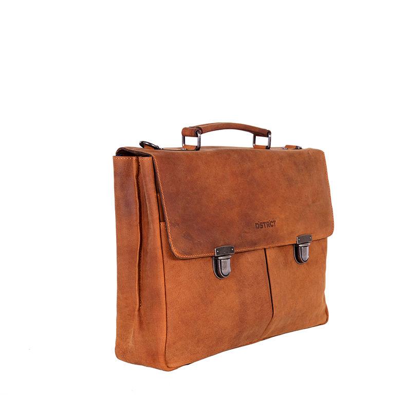DSTRCT Wall Street Laptop Bag Snap Buckle Cognac-85355