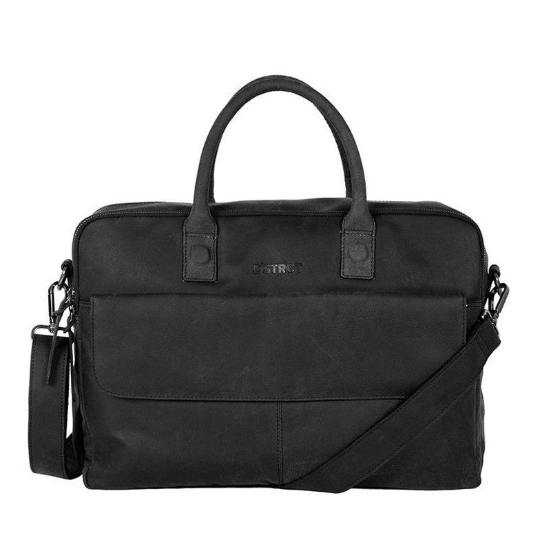 DSTRCT Wall Street Double Zipper Laptop Bag Black-0