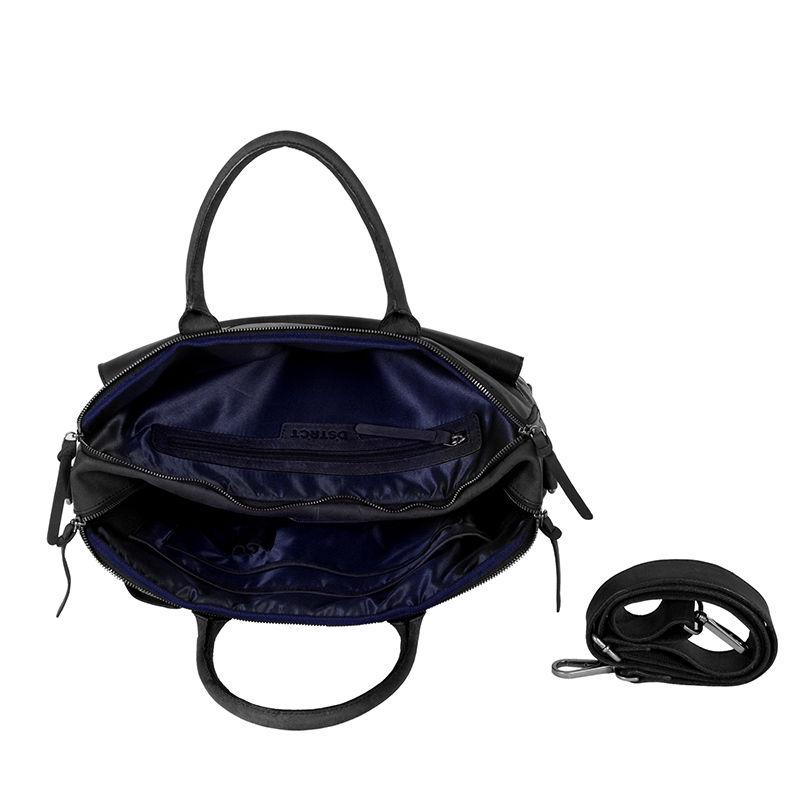 DSTRCT Wall Street Double Zipper Laptop Bag Black-85202