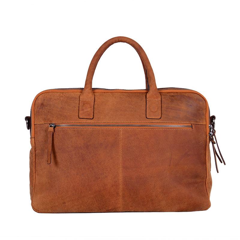 DSTRCT Wall Street Double Zipper Laptop Bag Cognac-85193