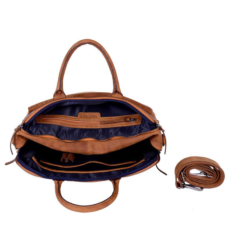 DSTRCT Wall Street Double Zipper Laptop Bag Cognac-85194