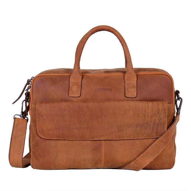 DSTRCT Wall Street Double Zipper Laptop Bag Cognac-0