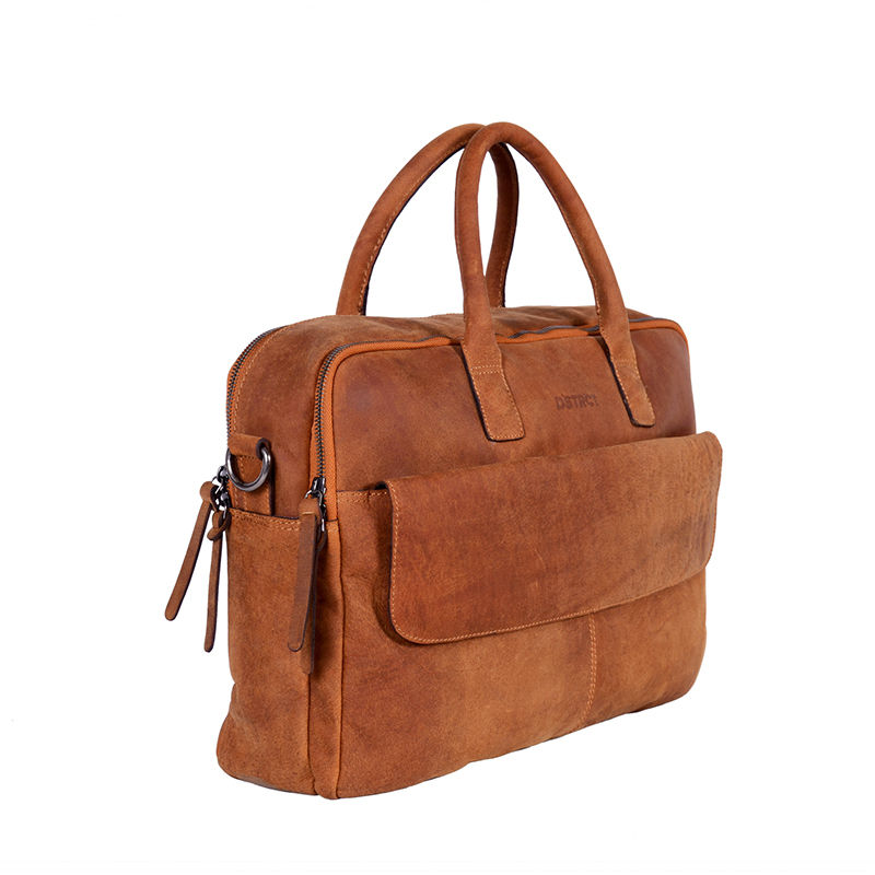 DSTRCT Wall Street Double Zipper Laptop Bag Cognac-85191