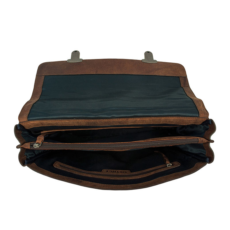 DSTRCT Wall Street Laptop Bag Snap Buckle Brown-85379