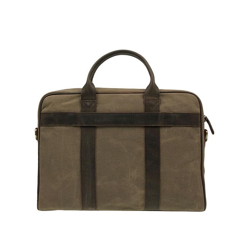 O My Bag The Harvey Olive Waxed Canvas Dark Brown-87405