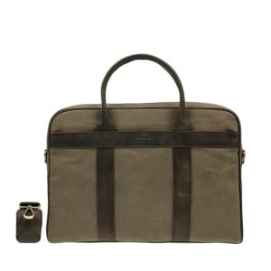 O My Bag The Harvey Olive Waxed Canvas Dark Brown-0