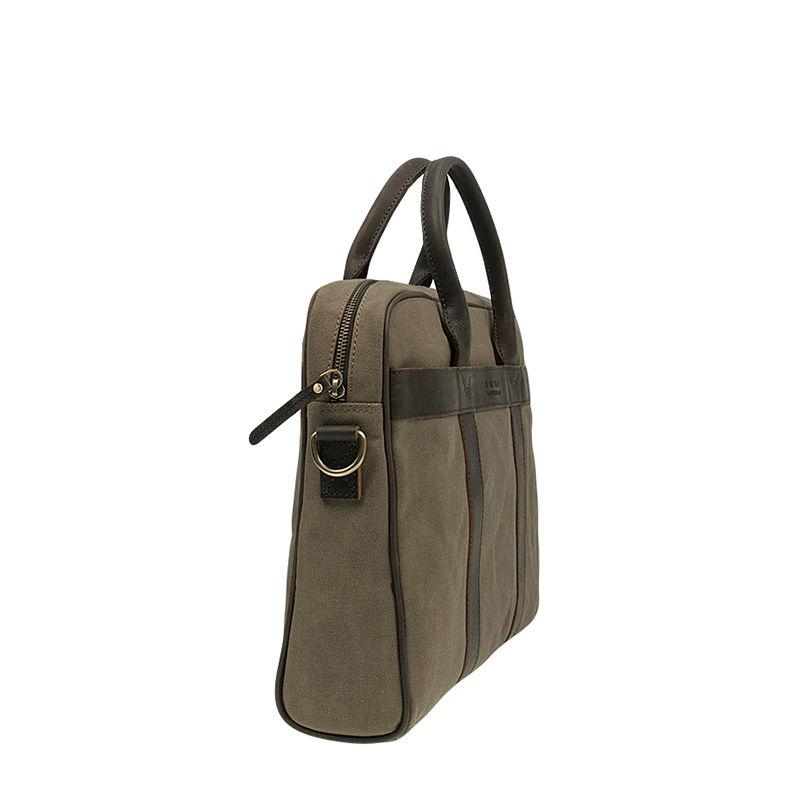 O My Bag The Harvey Olive Waxed Canvas Dark Brown-87407