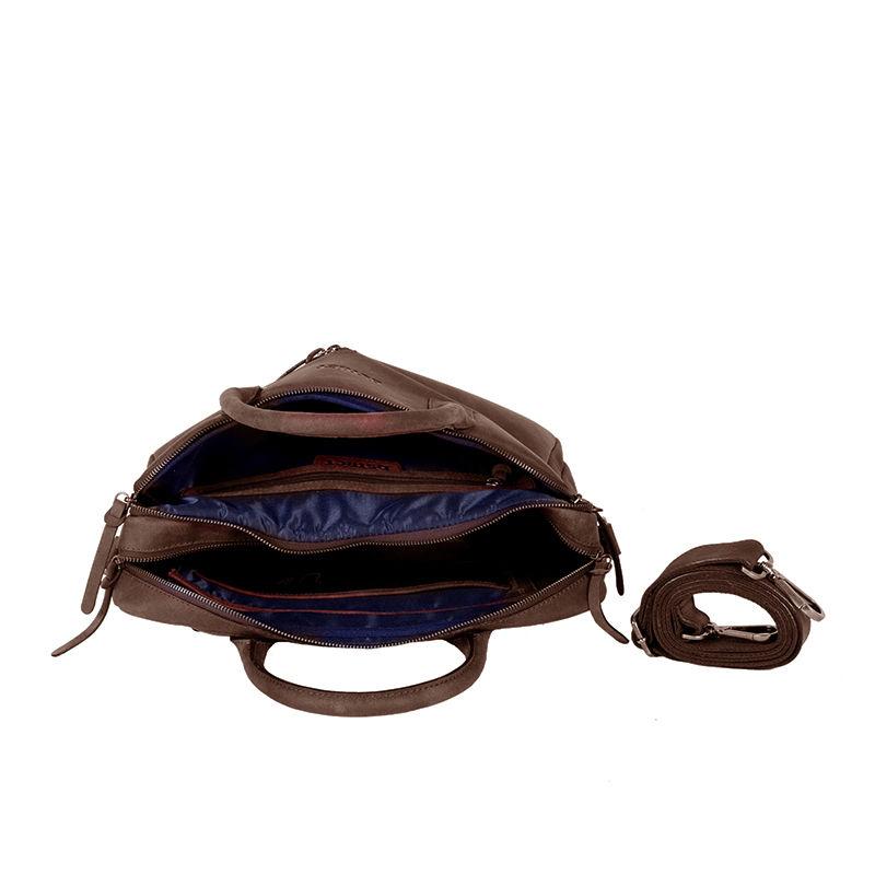 DSTRCT Wall Street Business Bag Double Zipper Brown-89583