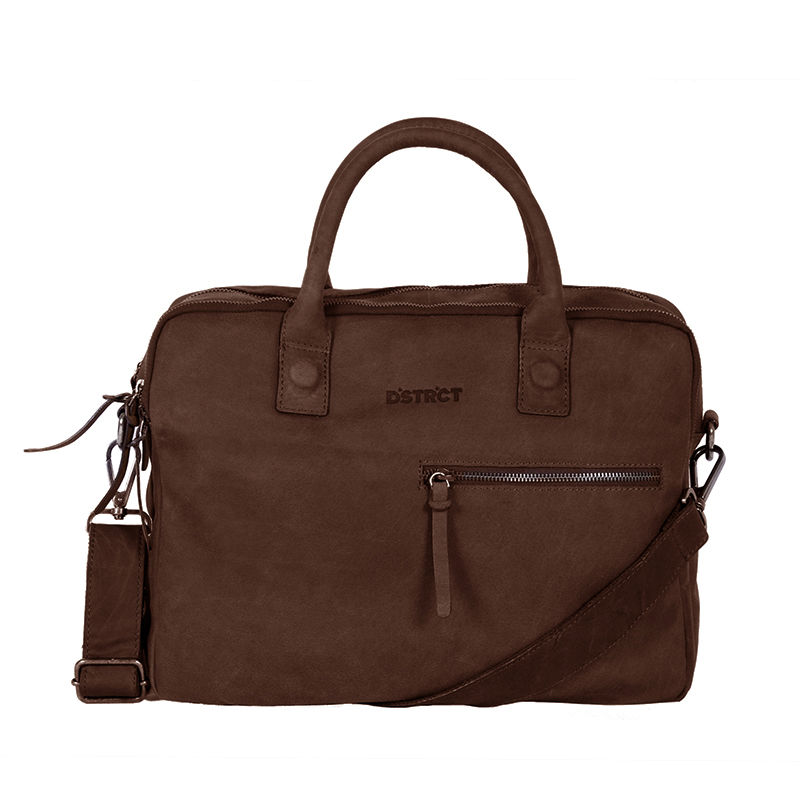 DSTRCT Wall Street Business Bag Double Zipper Brown-0