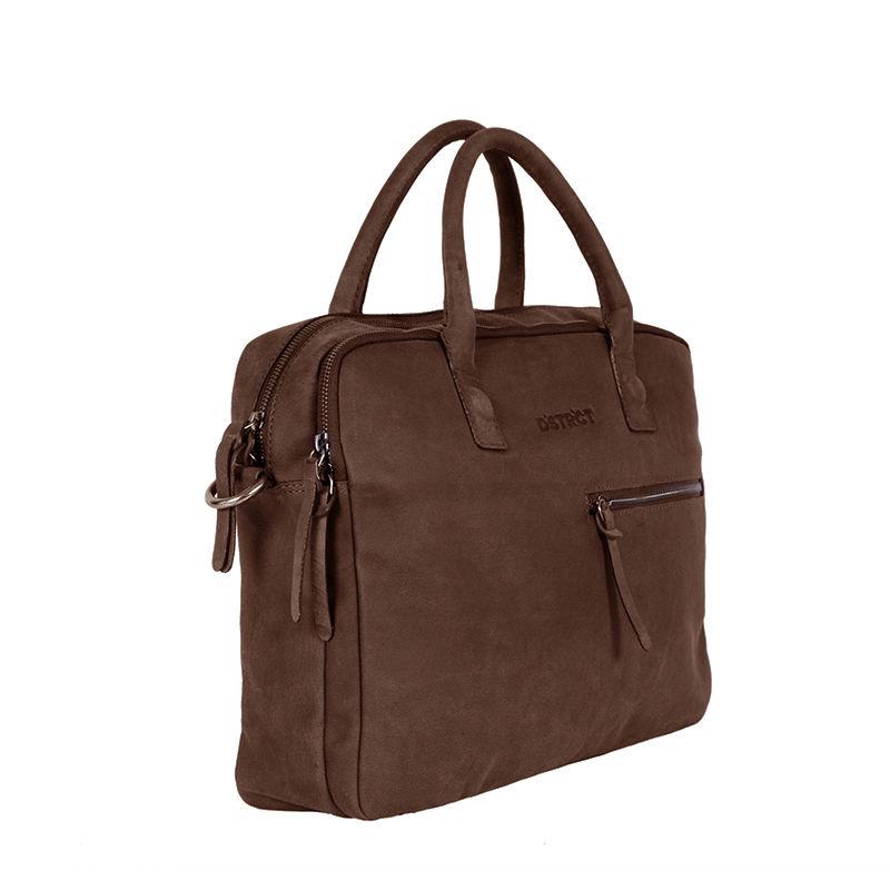 DSTRCT Wall Street Business Bag Double Zipper Brown-89581