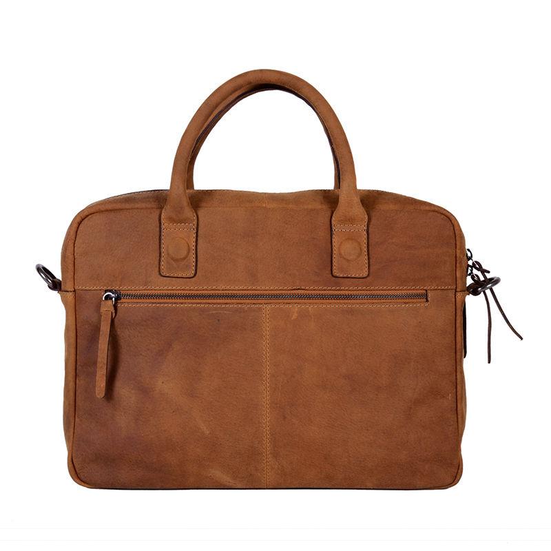 DSTRCT Wall Street Business Bag Double Zipper Cognac-89555