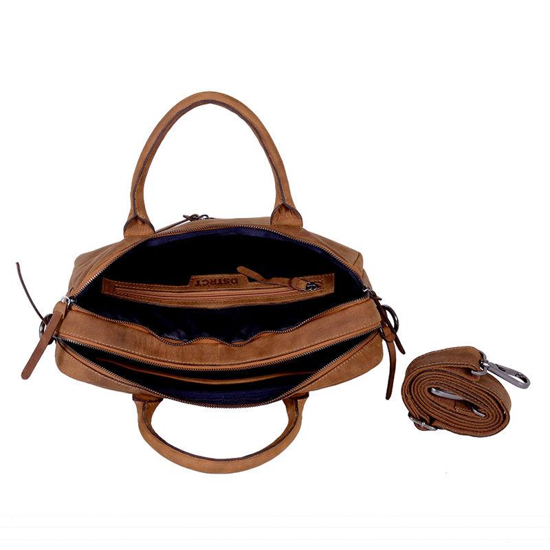 DSTRCT Wall Street Business Bag Double Zipper Cognac-89556