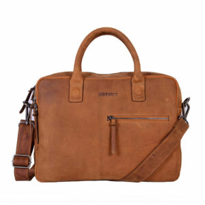 DSTRCT Wall Street Business Bag Double Zipper Cognac-0
