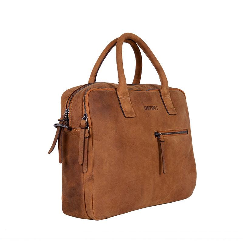 DSTRCT Wall Street Business Bag Double Zipper Cognac-89558