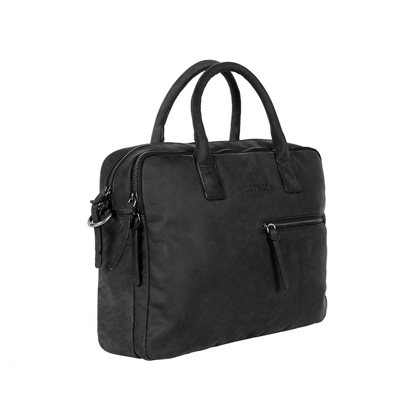 DSTRCT Wall Street Business Bag Double Zipper Black-89549