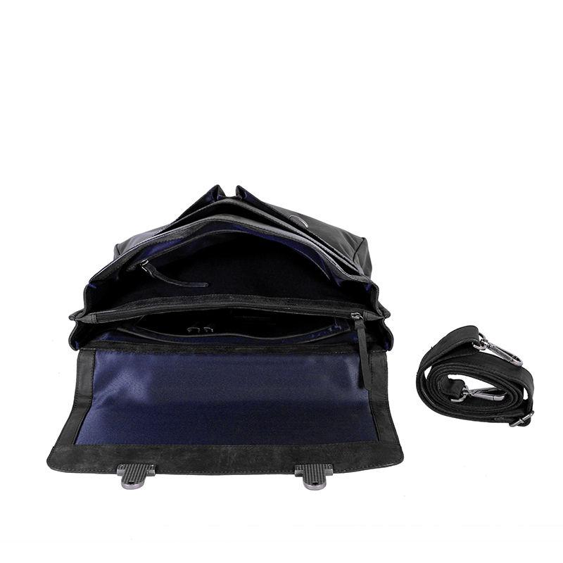 DSTRCT Wall Street Laptop Bag Snap Buckle Black-89529