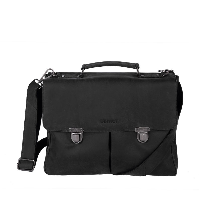 DSTRCT Wall Street Laptop Bag Snap Buckle Black-0