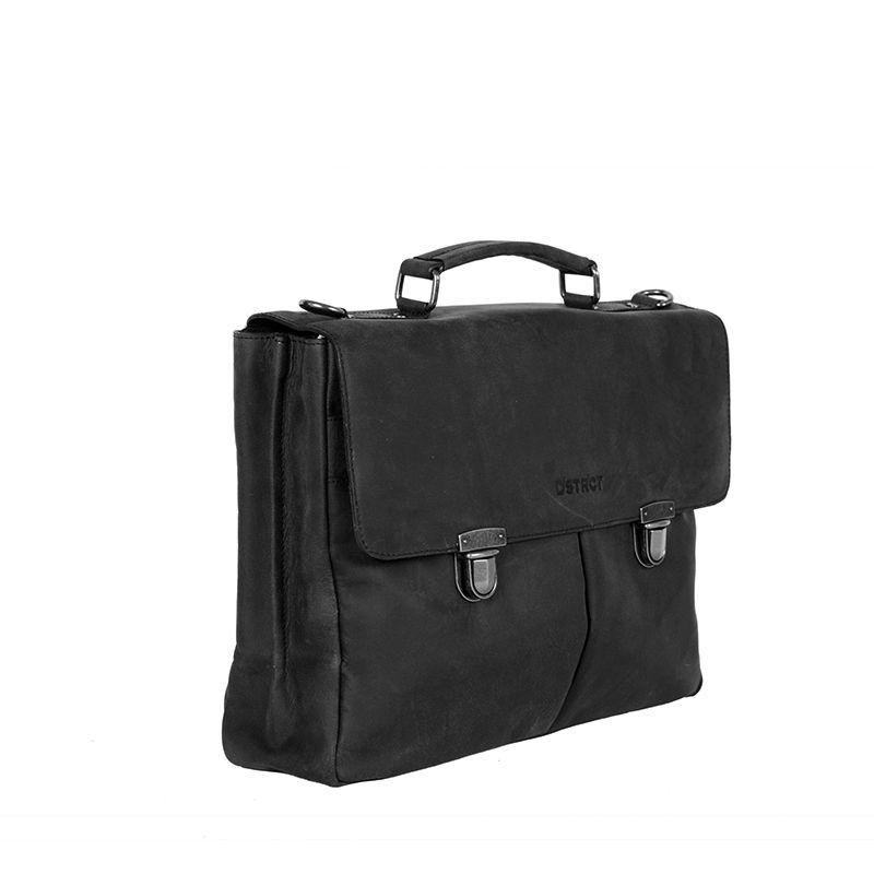 DSTRCT Wall Street Laptop Bag Snap Buckle Black-89531