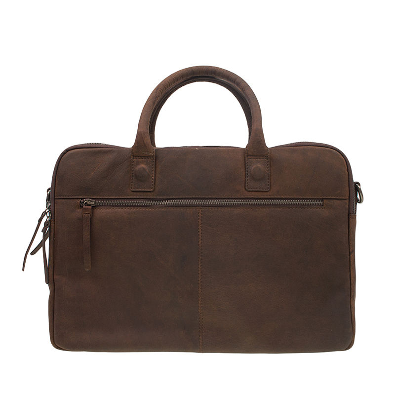 DSTRCT Wall Street 17'' Laptop Bag Double Zipper Mid Brown-106887