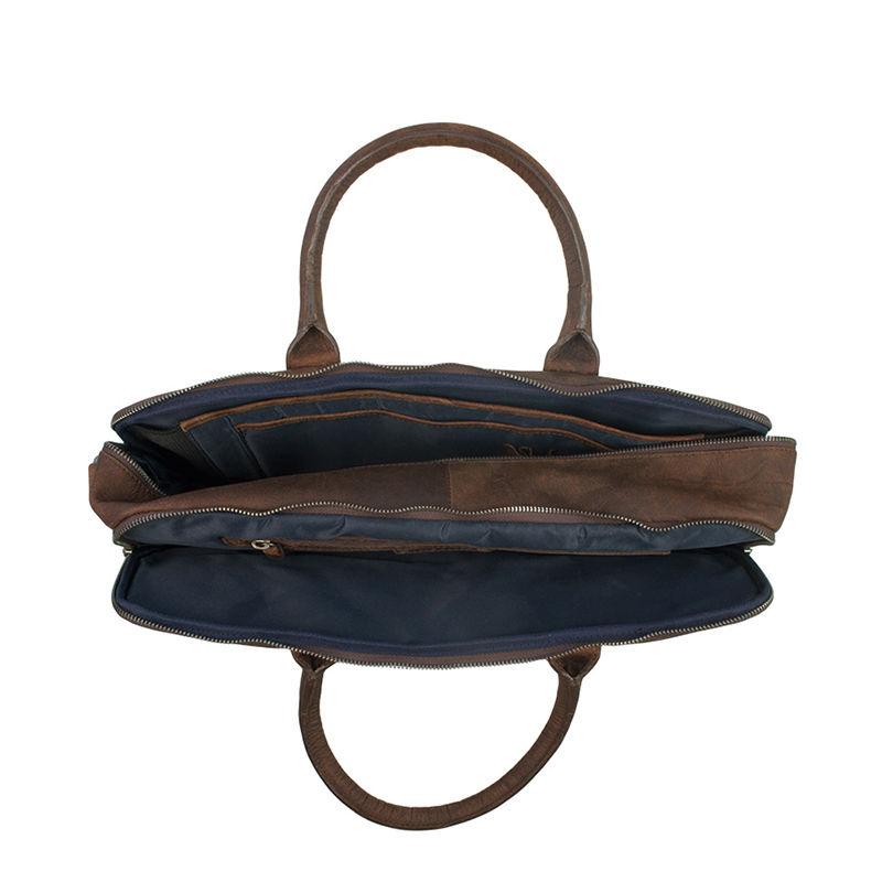 DSTRCT Wall Street 17'' Laptop Bag Double Zipper Mid Brown-106888
