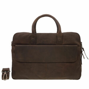 "DSTRCT Wall Street 17"" Laptop Bag Double Zipper Mid Brown"