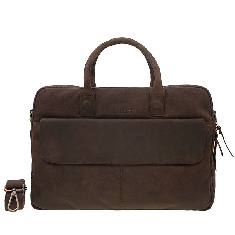 DSTRCT Wall Street 17'' Laptop Bag Double Zipper Mid Brown-0