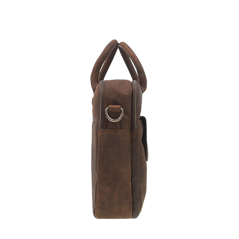 DSTRCT Wall Street 17'' Laptop Bag Double Zipper Mid Brown-106890