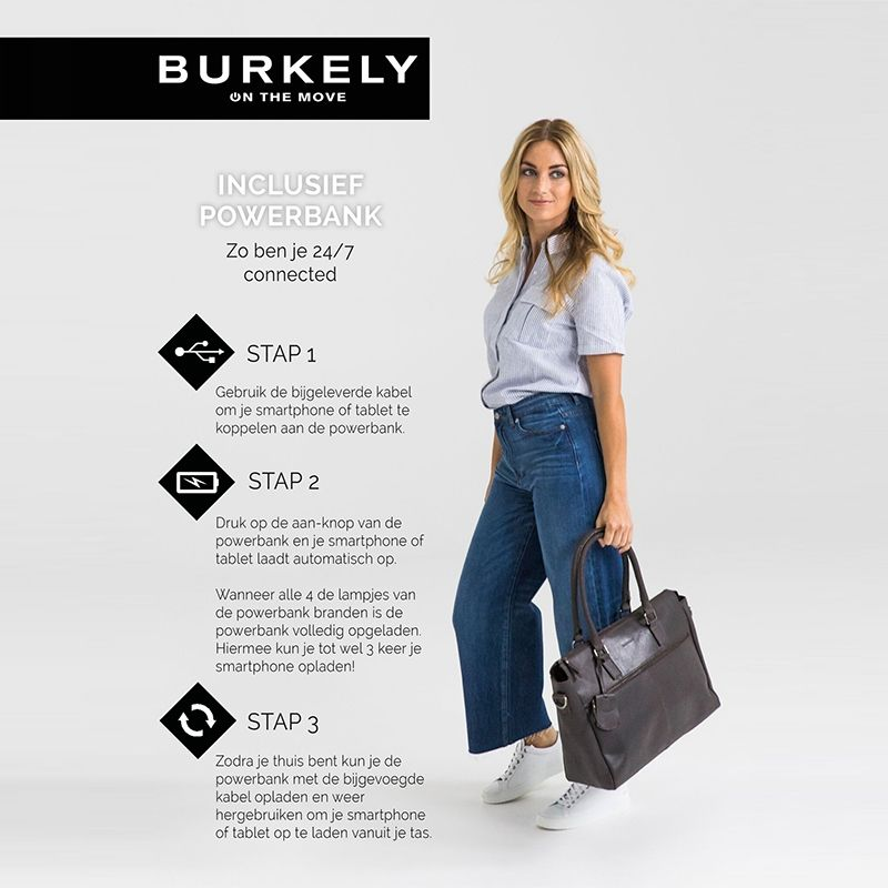 Burkely On The Move Zipper Laptoptas Brown-112094