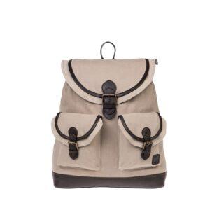 Monbeki Canvas Backpack Beige / Beige Kleppen-0