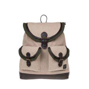 Monbeki Canvas Backpack Beige / Groene Kleppen-0
