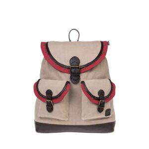 Monbeki Canvas Backpack Beige / Rode Kleppen met Studs-0