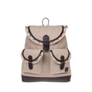 Monbeki Canvas Backpack Beige / Beige Kleppen met Studs