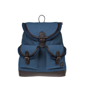 Monbeki Canvas Backpack Blauw / Blauwe Kleppen-0