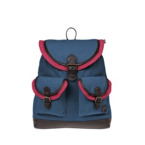 Monbeki Canvas Backpack Blauw / Roze Kleppen-0