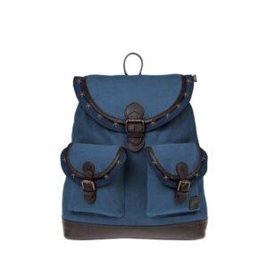 Monbeki Canvas Backpack Blauw / Blauwe Kleppen met Studs-0