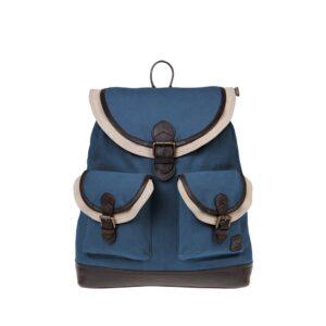Monbeki Canvas Backpack Blauw / Beige Kleppen-0