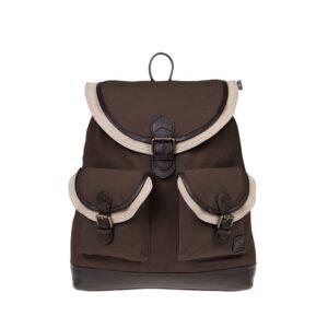 Monbeki Canvas Backpack Bruin / Beige Kleppen-0