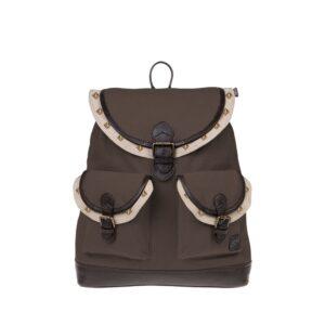 Monbeki Canvas Backpack Bruin / Beige Kleppen met Studs