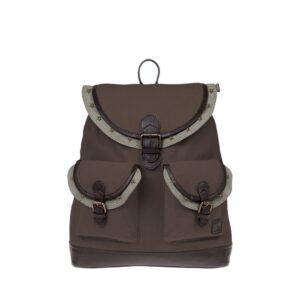 Monbeki Canvas Backpack Bruin / Groene Kleppen met Studs-0
