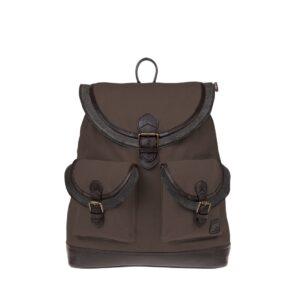 Monbeki Canvas Backpack Bruin / Leren Kleppen-0